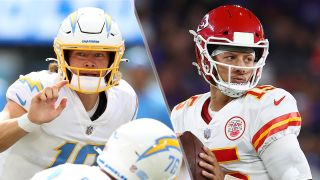 Justin Herbert #10 of the Los Angeles Chargers and Patrick Mahomes #15 of the Kansas City Chiefs