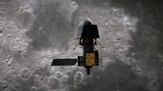 In an artist's concept, the Indian lander Vikram nears the lunar surface.