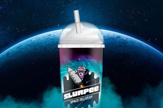 """7-Eleven is delivering a Slurpee to """"space"""" (lofted by a balloon into the stratosphere) to celebrate its 94th year in business."""