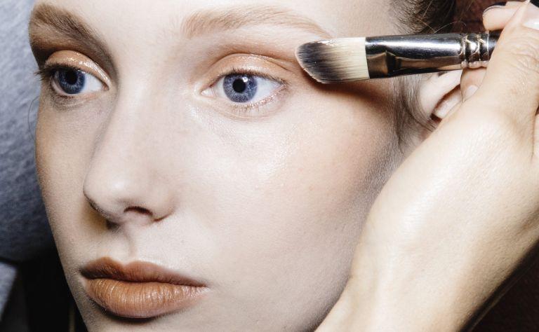 Model Demy Devries is seen backstage ahead of the Philosophy Di Lorenzo Serafini show wearing best eyeshadow for blue eyes