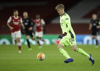 Arsenal's goalkeeper Alex Runarsson made his debut for the club in the Europa League win over Dundalk.