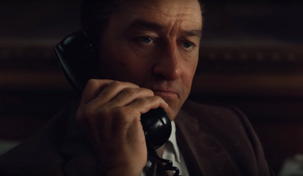 The Irishman Robert De Niro de-aged and talking on the phone
