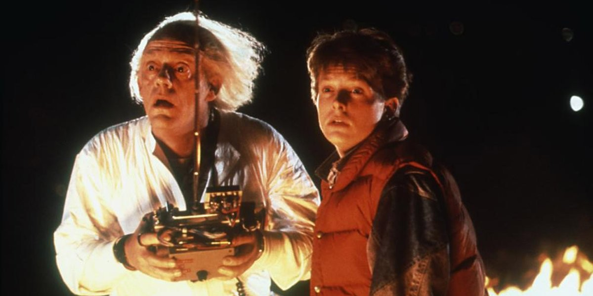 Christopher Lloyd as Emmett Brown and Michael J. Fox as Marty McFly in Back to the Future (1984)