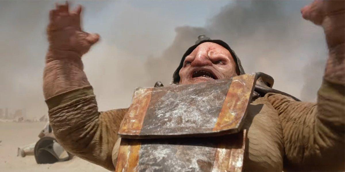"Unkar Plutt shouting ""That's mine!"" as his Millennium Falcon flies away"