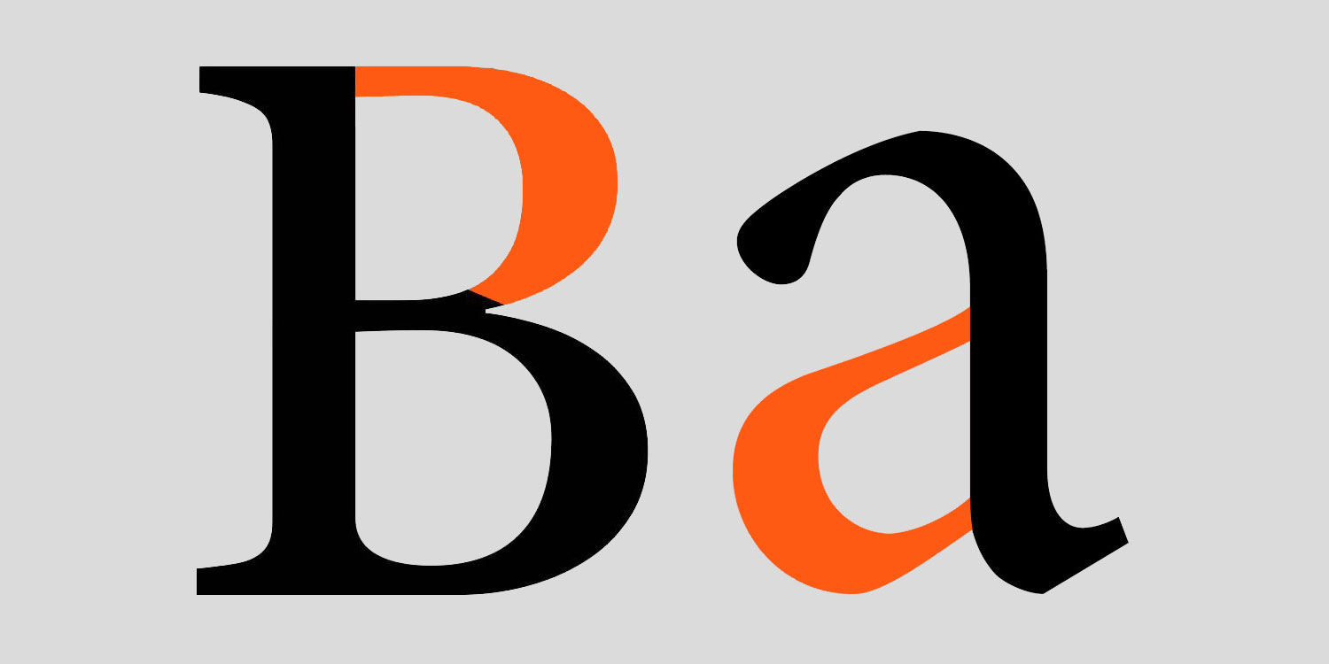 An uppercase B and lowercase A with curved bowls highlighted