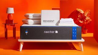 Nectar mattress sale: memory foam mattress on wooden bed platform