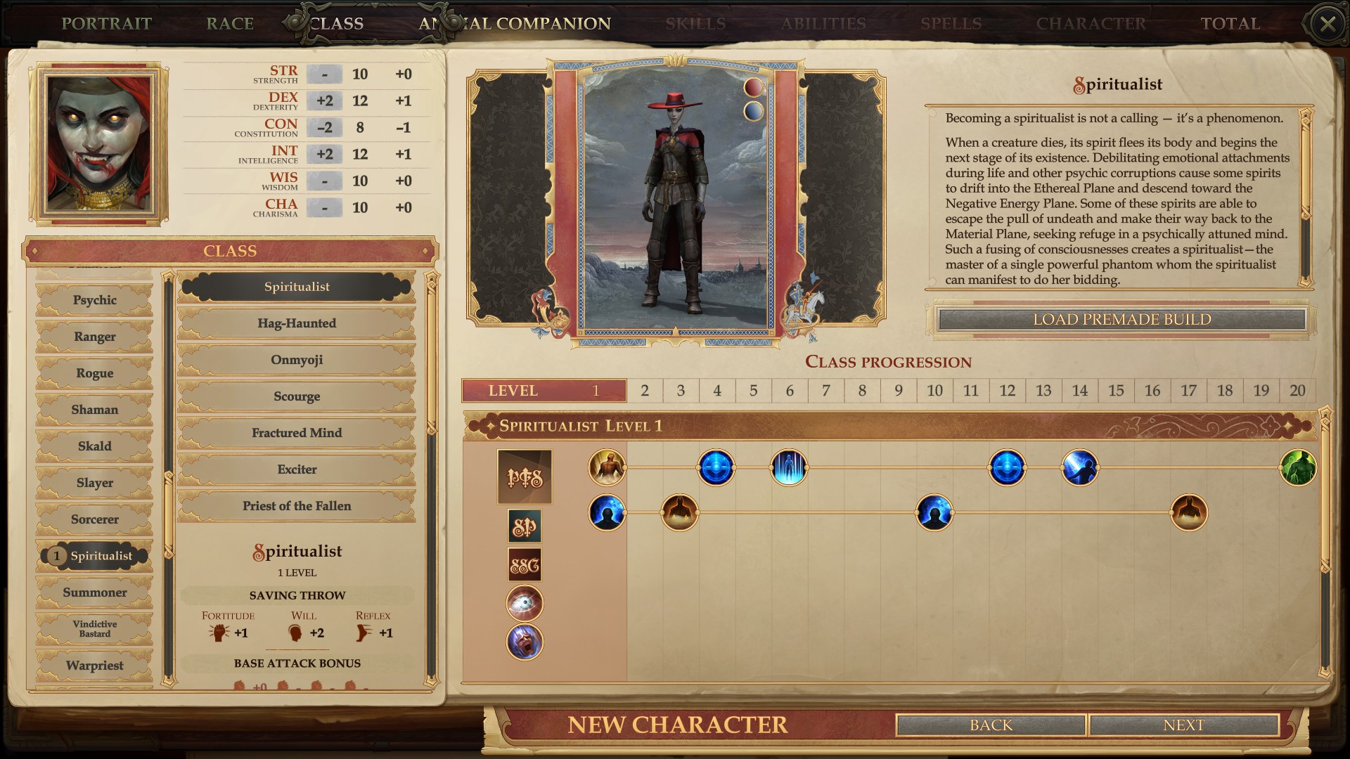 The Spiritualist class from Call of the Wild, one of the best Pathfinder: Kingmaker mods