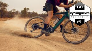 Cannondale Neo electric bike sliding in dirt