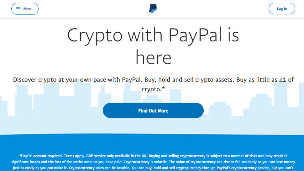 Website screenshot of PayPal