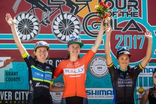 Lauren Stephens, Emma White and Lizzie Williams on the stage 4 podium at Tour of the Gila