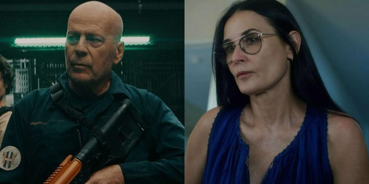 Bruce Willis and Demi Moore side by side