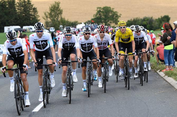 Team Sky line up in front of Geraint Thomas at the Tour de France