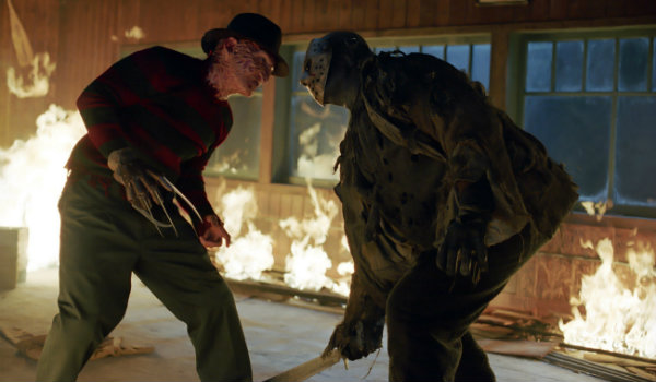 Freddy vs Jason burning cabin fight