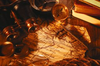 explorer's map and compass