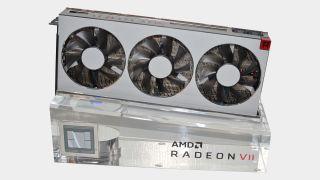 AMD Radeon VII graphics card on plinth