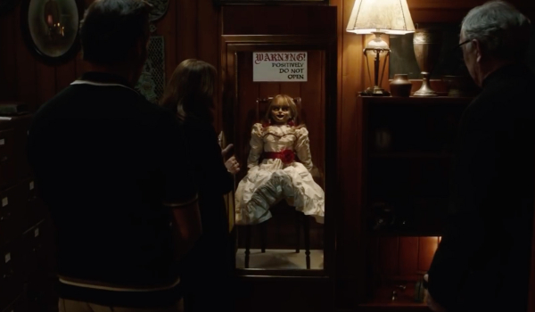 Annabelle Comes Home the doll is locked in its special cabinet