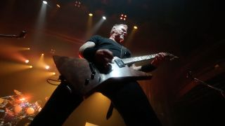 Metallica's James Hetfield on stage at the Webster Hall