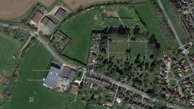 A satellite view of Aylesbury-Vale district in Buckinghamshire, England shows the site where the skeletons were found, at a farm near a graveyard (top center).