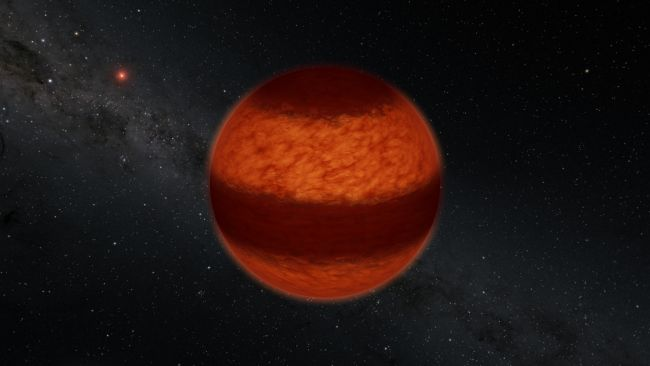 Turbulent skies of nearby 'failed star' marked by thick cloud bands