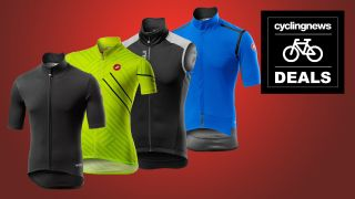 Four Castelli cycling jerseys in a row, on a red background overlaid with a 'deals' badge