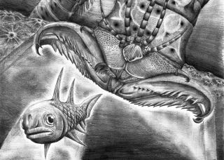An artist's reconstruction showing <em>W. armstrongi</em> attacking a fish in the Devonian sea.
