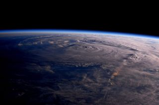 A snapshot of Hurricane Harvey captured by astronaut Jack Fischer and posted on Aug. 26.