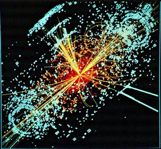 An example of simulated data modeled for the CMS particle detector on the Large Hadron Collider. Here, following a collision of two protons, a Higgs boson is produced which decays into two jets of hadrons and two electrons. DeGrand's theories represent an