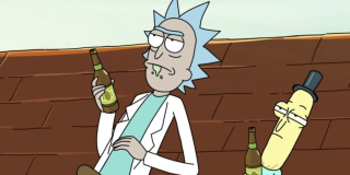 rick and mr poopybutthole drinking on the roof