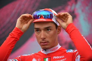 MADONNA DI CAMPIGLIO ITALY OCTOBER 21 Start Simon Pellaud of Switzerland and Team Androni Giocattoli Sidermec Bassano del Grappa Village during the 103rd Giro dItalia 2020 Stage 17 a 203km stage from Bassano del Grappa to Madonna di Campiglio 1514m girodiitalia Giro on October 21 2020 in Madonna di Campiglio Italy Photo by Stuart FranklinGetty Images