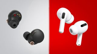 the sony wf-1000xm4 and the airpods pro side by side