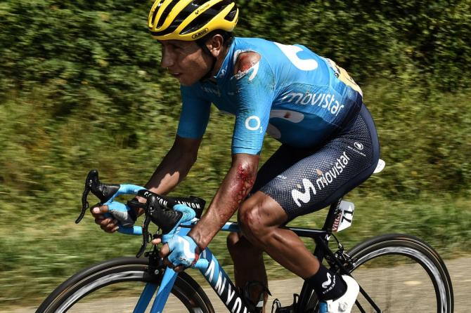 Nairo Quintana (Movistar) was torn up in a crash on stage 18