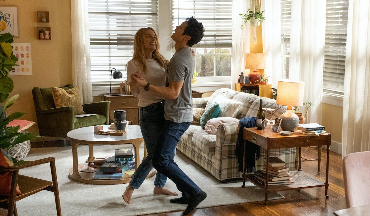 Jessica Rothe and Harry Shum Jr in All My Life, dancing