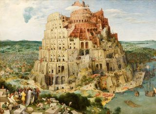 an old oil painting of the Tower of Babel.