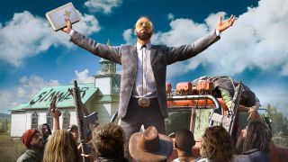 Far Cry 5 villain with arms outstretched, looking at the sky