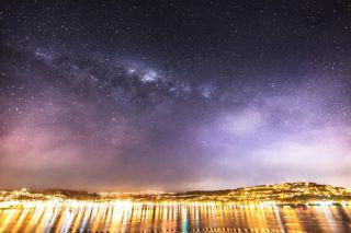 Milky Way Over Evans Bay in Wellington, New Zealand