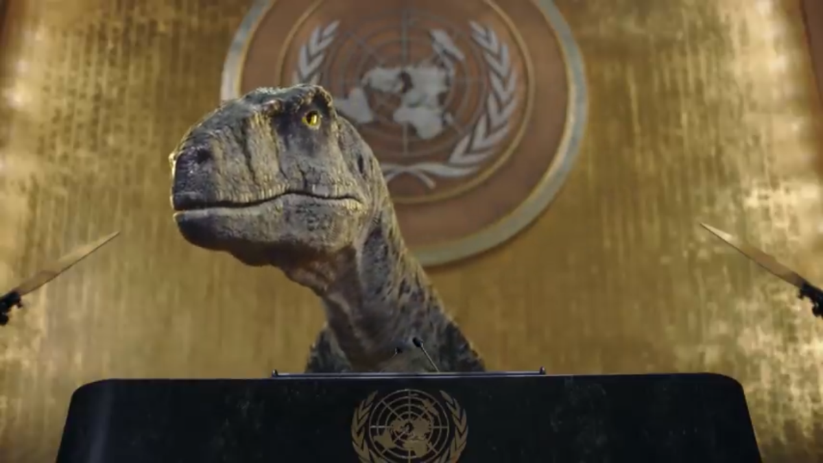 Talking dinosaur invades UN to give climate change speech in bizarre, yet brilliant, new video