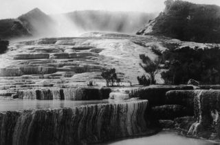 The Pink and White Terraces at Lake Rotomahana near Rotorua, New Zealand, circa 1880.