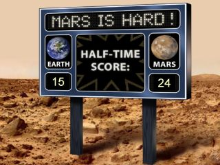 This artist's scoreboard displays a fictional game between Mars and Earth, with Mars in the lead, based on Mars mission results.