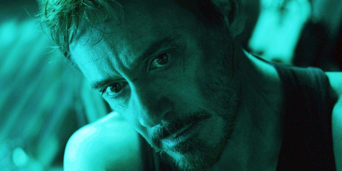 Avengers: Endgame Tony tearing up in green light