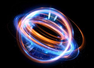 Abstract background of an electron swirling around in an atom.