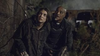Maggie and Father Gabriel outside Meridian wall on The Walking Dead
