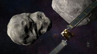An illustration showing the DART spacecraft blasting toward the asteroid Didymos.