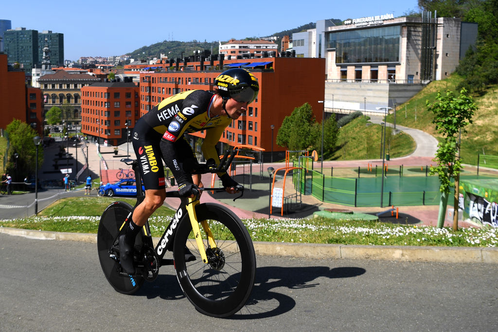 BILBAO SPAIN APRIL 05 Primoz Roglic of Slovenia and Team Jumbo Visma during the 60th ItzuliaVuelta Ciclista Pais Vasco 2021 Stage 1 a 139km individual time trial from Bilbao to Bilbao itzulia ehitzulia ITT on April 05 2021 in Bilbao Spain Photo by David RamosGetty Images