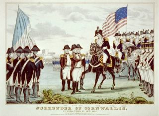 The surrender of Cornwallis at Yorktown, Virginia in Oct. 1781.