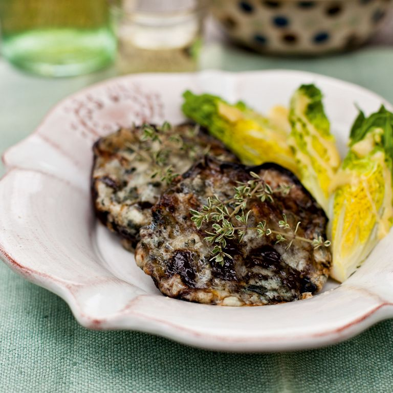 Baked Mushrooms-onions-roquefort-summer recipes-woman and home