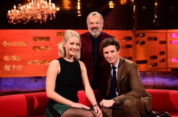 Jennifer Lawrence, Graham Norton and Eddie Redmayne