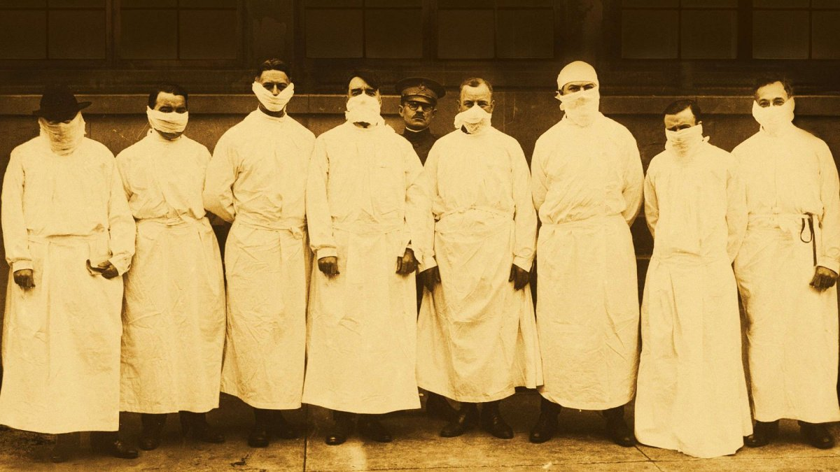 A group of doctors in the 1918 pandemic in America's Hidden Stories.