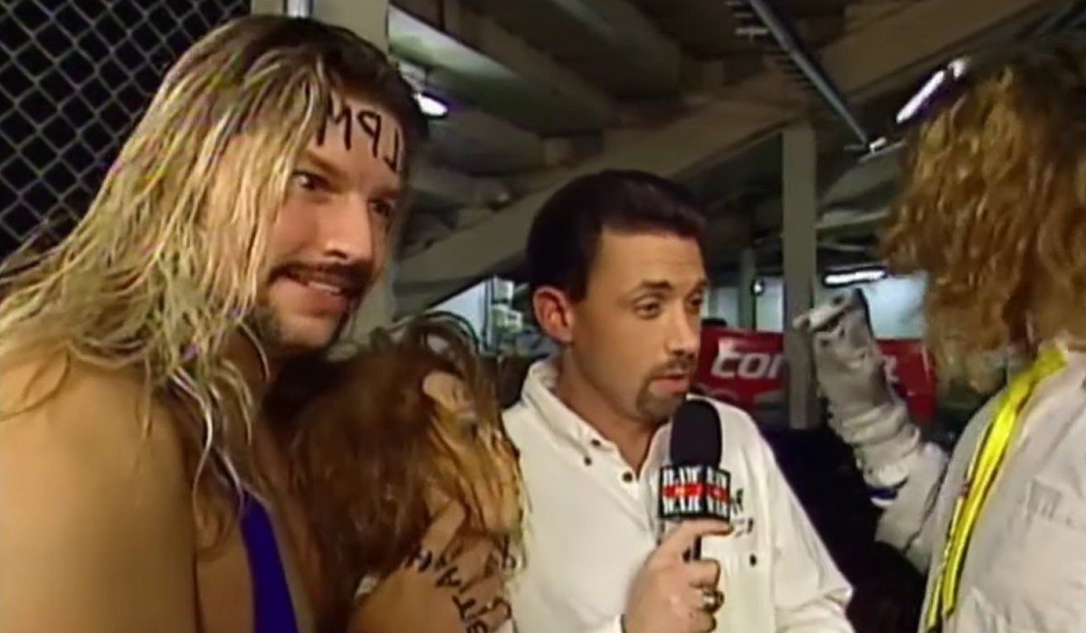Al Snow looking crazy while Michael Cole Talks To Mankind Monday Night Raw