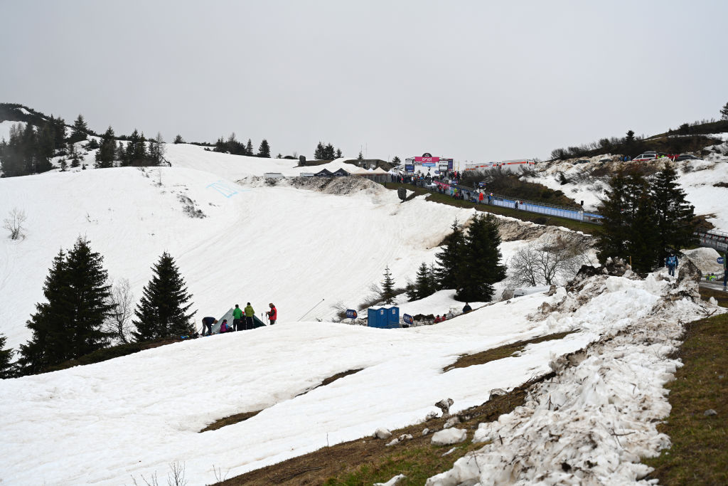 MONTE ZONCOLAN ITALY MAY 22 Snowy view of Monte Zoncolan finish area during the 104th Giro dItalia 2021 Stage 14 a 205km stage from Cittadella to Monte Zoncolan 1730m Fog UCIworldtour girodiitalia Giro on May 22 2021 in Monte Zoncolan Italy Photo by Stuart FranklinGetty Images