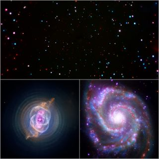 At the top of this image trio is a view of the Chandra Deep Field South. On the bottom left is the Cat's Eye Nebula, and at the bottom right is the Whirlpool Galaxy (Messier 51).